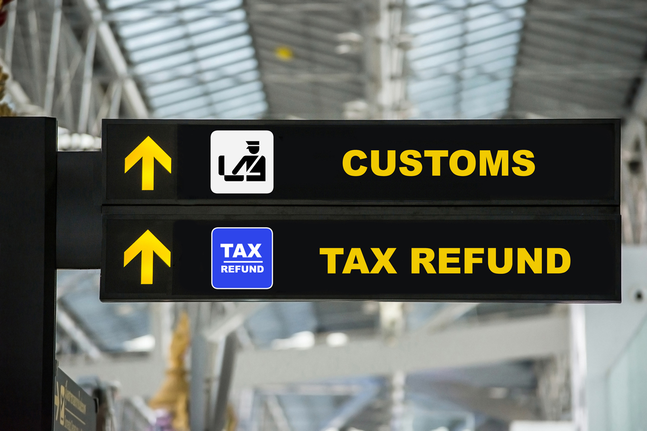 Airport Tax refund and customs sign in terminal at airport