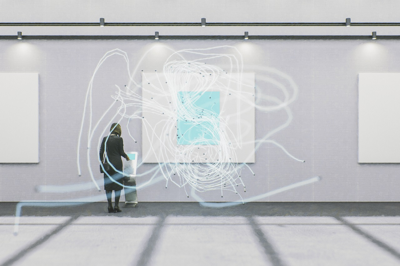 Futuristic art gallery with projected artwork in 3D space